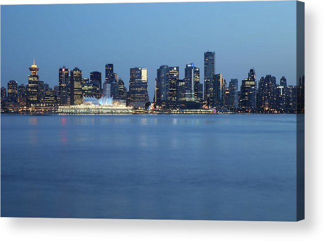 Built Structure Acrylic Print featuring the photograph Vancouver Canada Place Skyline Blue Hour by Kim Rogerson