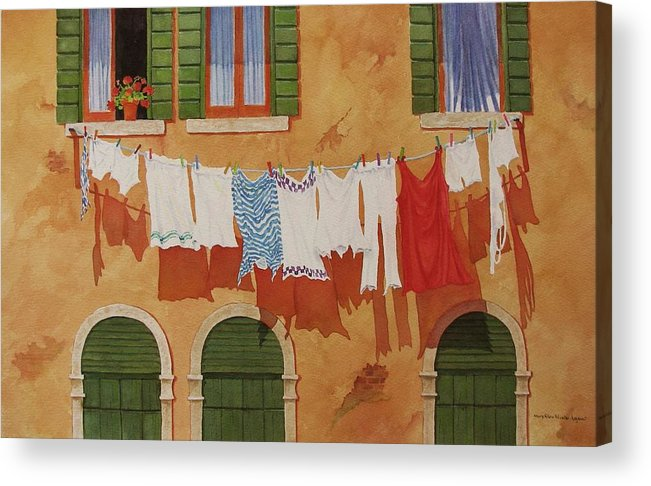 Venice Acrylic Print featuring the painting Venetian Washday by Mary Ellen Mueller Legault