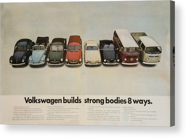 Vw Beetle Acrylic Print featuring the digital art Volkswagen Body Facts by Georgia Fowler