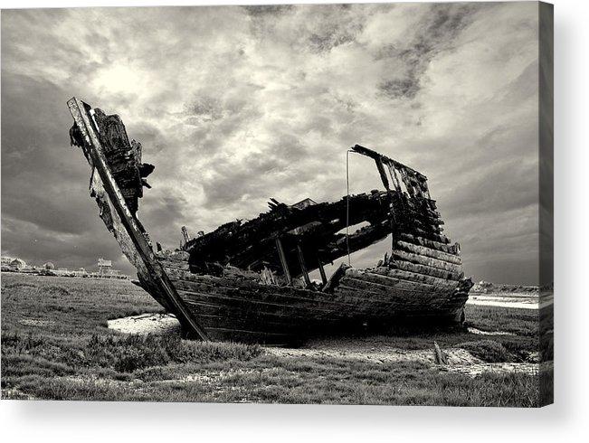 Fleetwood Marsh Acrylic Print featuring the photograph Fleetwood Marsh Wrecks by Trevor Kersley