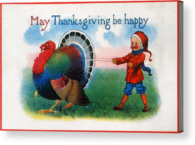 1900 Acrylic Print featuring the photograph Thanksgiving Card, 1900 by Granger