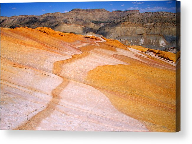 Yellow Rock Landscape Acrylic Print featuring the photograph Yellow Brick Road by Sharon I Williams