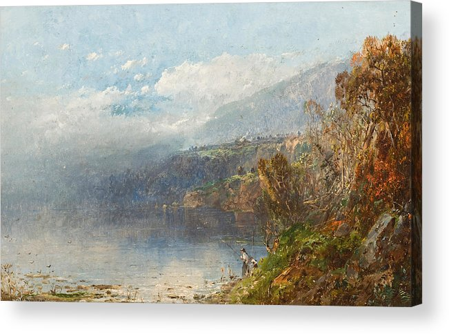 Autumn On The Androscoggin (oil On Canvas)fall; Seasons; Autumnal; River; North America; North American; Maine; New Hampshire; New England; Landscape; Mist; Misty; Wild; Wilderness; Remote; Male; Fisherman; Fishing; Solitary; Riverbank; Landscape Acrylic Print featuring the painting Autumn On The Androscoggin by William Sonntag