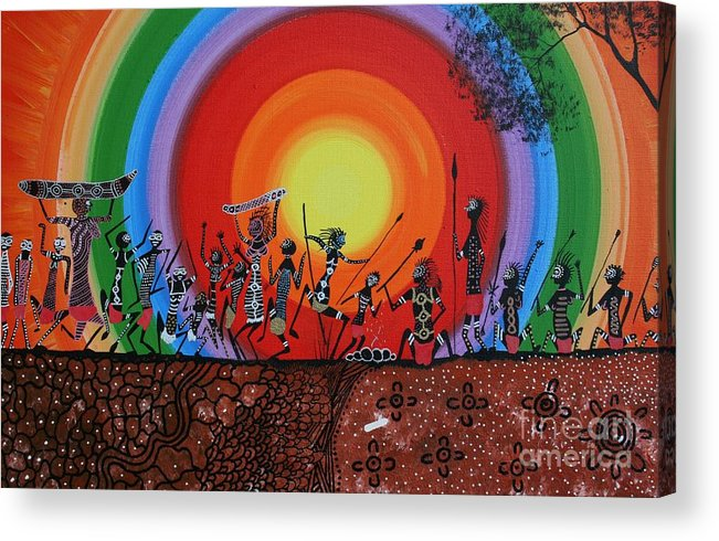 Aboriginal Art Acrylic Print featuring the mixed media Coorobooree by David Dunn