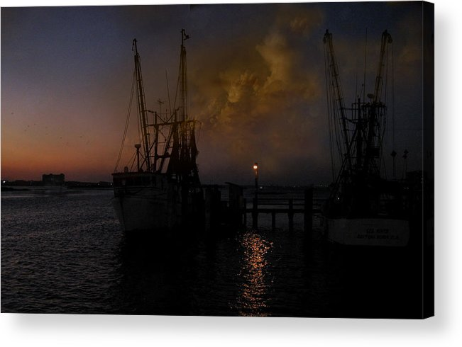 Boats Acrylic Print featuring the photograph Harbor At Dusk by Joseph G Holland