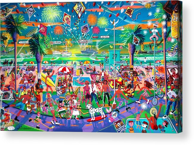 Venice Beach Acrylic Print featuring the painting Independence Day Venice Style by Frank Strasser