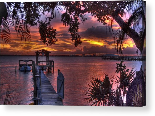 Sunset Acrylic Print featuring the photograph Indian River Sunset by Lisa Goddard
