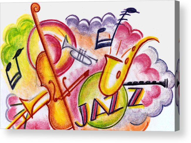 Nostalgia Acrylic Print featuring the drawing Jazz Deco by Mel Thompson