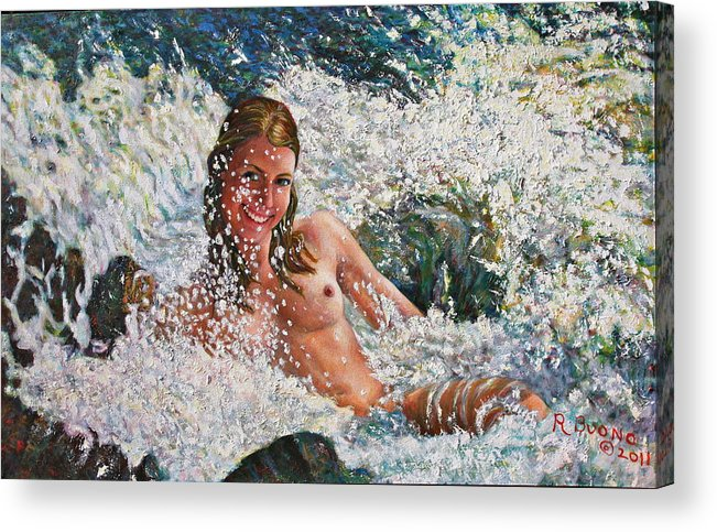 Kalla Acrylic Print featuring the painting Kalla Playing In A Waterfall by Robert Buono