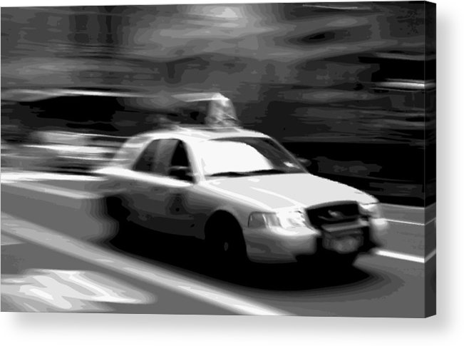 Taxi Acrylic Print featuring the photograph Nyc Taxi Bw16 by Scott Kelley