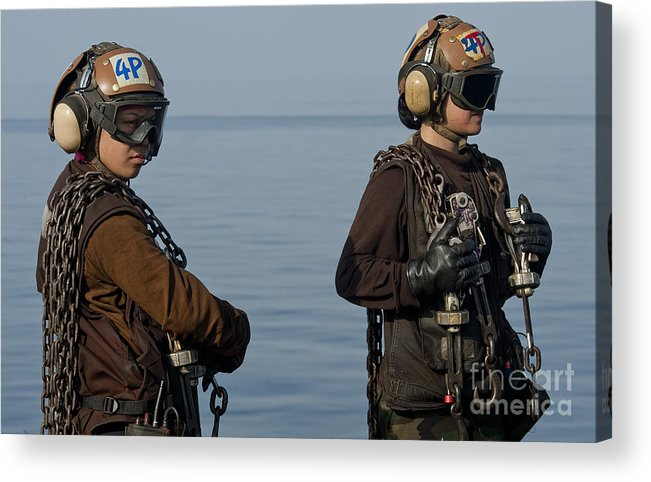 Warship Acrylic Print featuring the photograph Plane Captains Stand By During Aircraft by Stocktrek Images