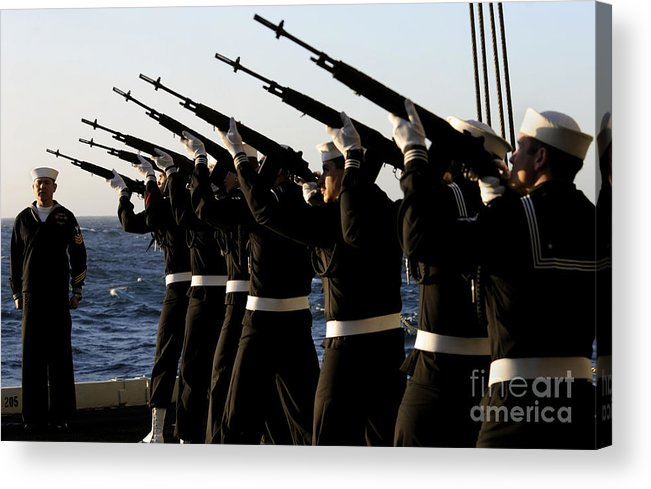 Shooting Acrylic Print featuring the photograph The Rifle Detail Aboard by Stocktrek Images