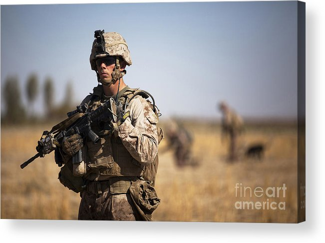 Afghanistan Acrylic Print featuring the photograph U.s. Marine During A Security Patrol by Stocktrek Images