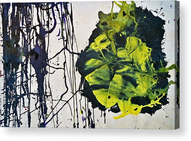 Nature Acrylic Print featuring the painting Yellow Black by Ofra Moran