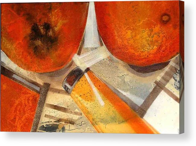 Acrylic Print featuring the painting Orange Still Life by Evguenia Men