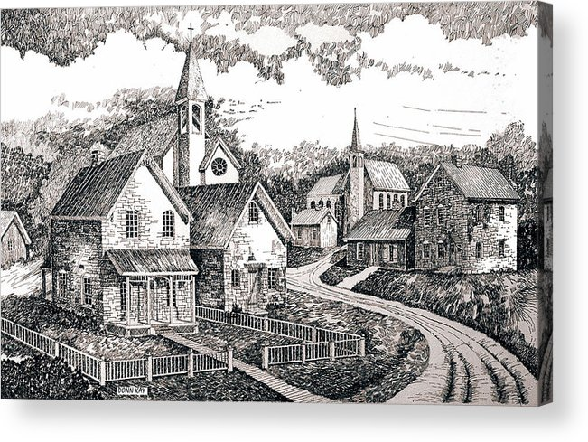 Western Art Sunday Houses Acrylic Print featuring the drawing Sunday Houses Along Old Church Street by Donn Kay