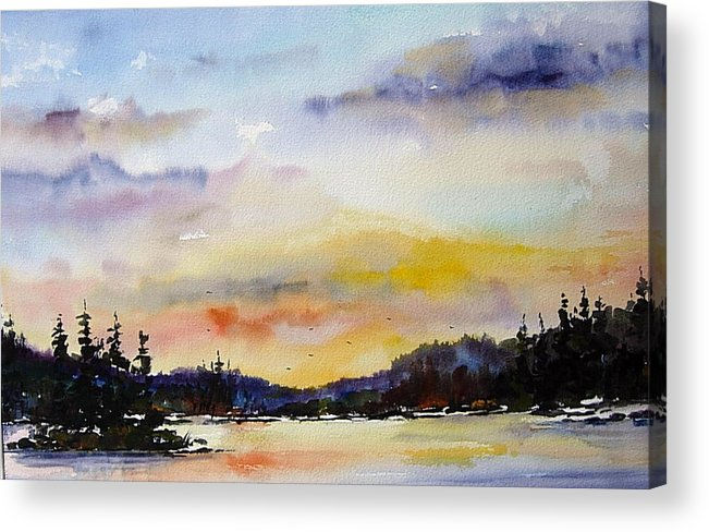 Landscape Acrylic Print featuring the painting Suset At The Lake by Wilfred McOstrich