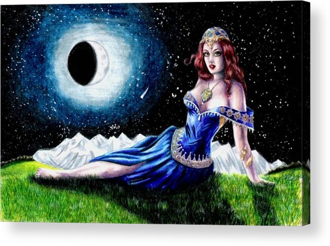 Witch Acrylic Print featuring the drawing The Moon Witch by Scarlett Royal