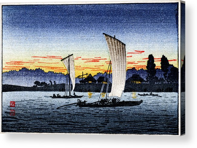 Japanese Acrylic Print featuring the painting 1900 Japanese Fishermen by Historic Image