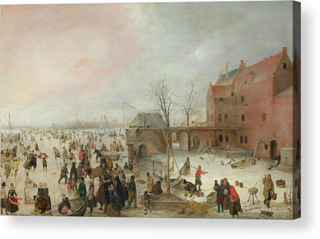 Scenery Acrylic Print featuring the painting A Scene On The Ice Near A Town by Hendrick Avercamp
