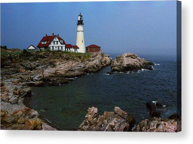 America Acrylic Print featuring the photograph Lighthouse - Portland Head Maine by Frank Romeo