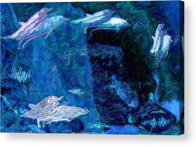 Dolphins Acrylic Print featuring the digital art Amidst Dolphins by Mushtaq Bhat