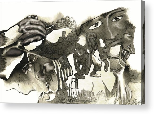 Military Acrylic Print featuring the drawing At Ease Never by Valera Ainsworth