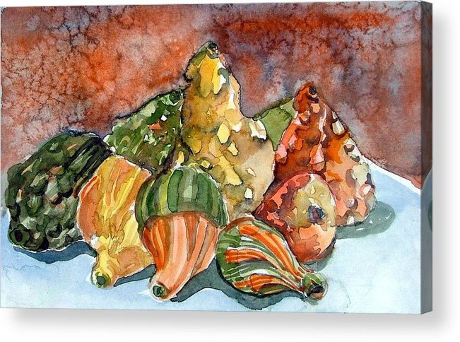 Gourds Acrylic Print featuring the painting Autumn Gourds by Mindy Newman