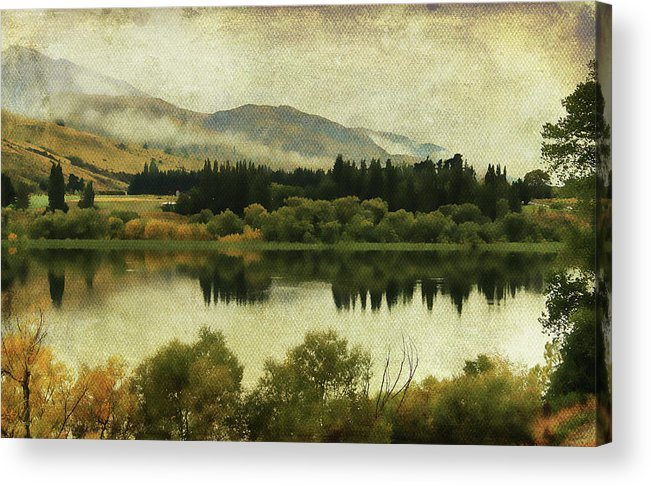 Lake Acrylic Print featuring the digital art Autumn On The Lake by Margaret Hormann Bfa