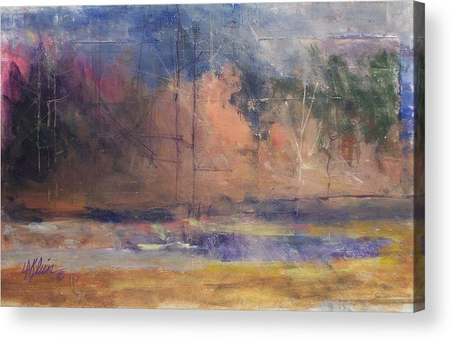 Impresstionist Acrylic Print featuring the painting Autumn Pond by Dalas Klein