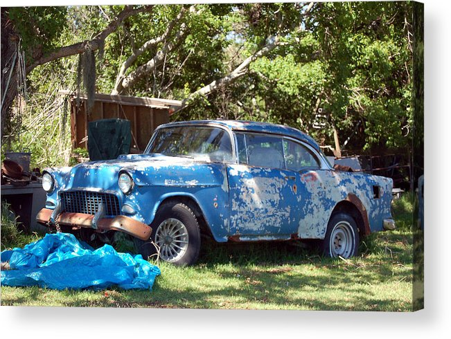 Cars Acrylic Print featuring the photograph Blue Car On The Bayou by Heather S Huston