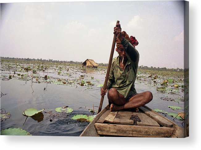 Cambodia Acrylic Print featuring the photograph Boatman - Battambang by Patrick Klauss
