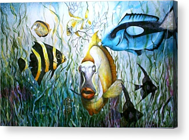 Fish Acrylic Print featuring the print Bubba Fish And Friends by JoLyn Holladay