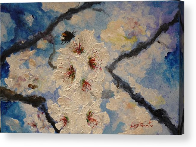 Bumble Bee Acrylic Print featuring the painting Busy Bumble Bee And Blossom. by Lizzy Forrester