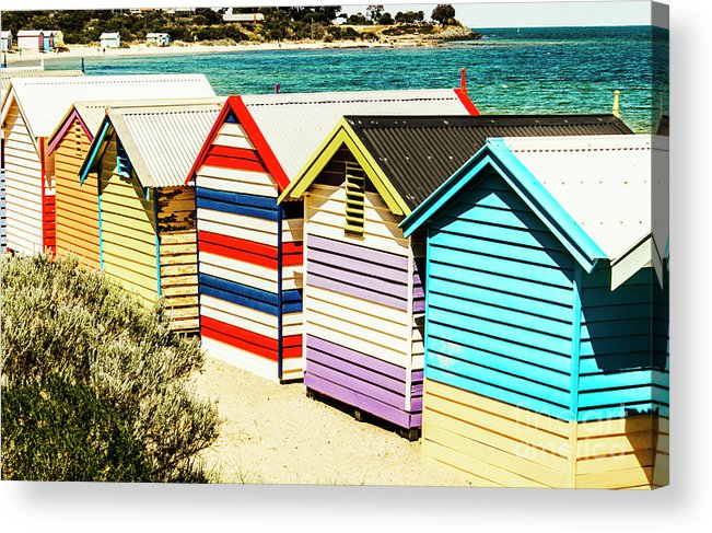 Hut Acrylic Print featuring the photograph Colourful Bathing Sheds by Jorgo Photography - Wall Art Gallery