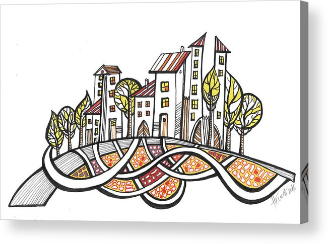 Houses Acrylic Print featuring the drawing Connections by Aniko Hencz