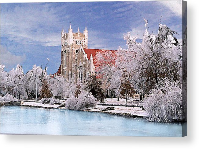 Winter Acrylic Print featuring the photograph Country Club Christian Church by Steve Karol