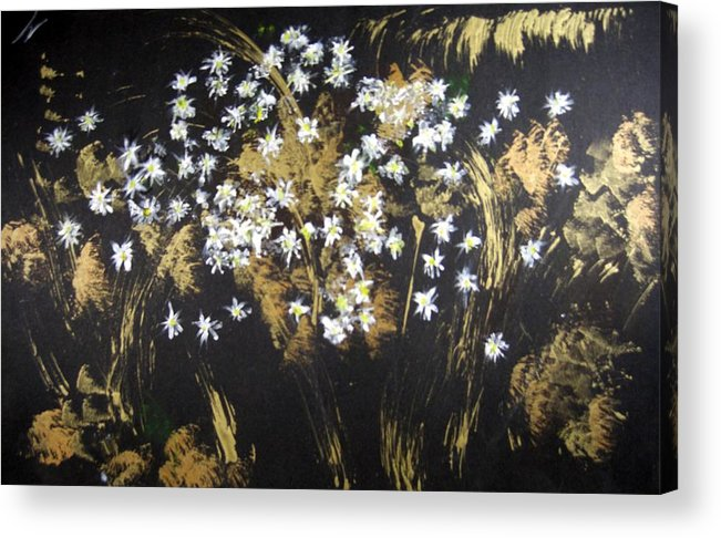 Abstract Acrylic Print featuring the painting Daisies In Gold Abstraction by Michela Akers