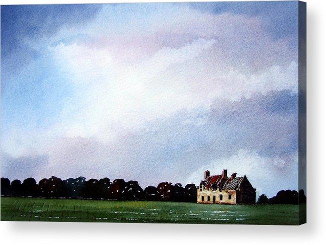 Watercolour Acrylic Print featuring the painting Derelict Farmhouse Near Malton by Paul Dene Marlor