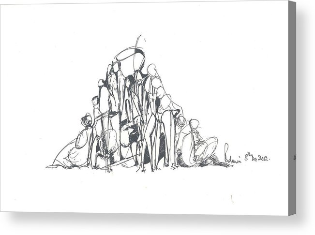Human Forms Acrylic Print featuring the drawing Embedded Human Forms by Padamvir Singh