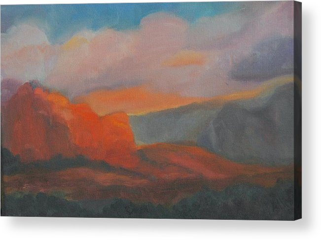 Landscape Acrylic Print featuring the painting Evening In Sedona by Stephanie Allison