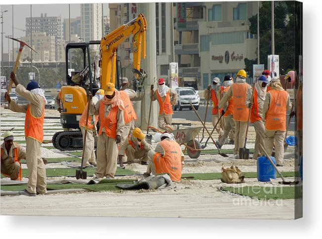 Foreign Workers Acrylic Print featuring the photograph Foreign Workers - Manama Bahrain by Kenneth Lempert
