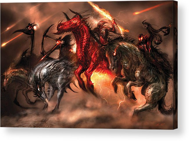 Concept Art Acrylic Print featuring the digital art Four Horsemen by Alex Ruiz