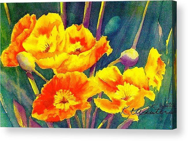 Nature Acrylic Print featuring the painting French Poppies by KC Winters