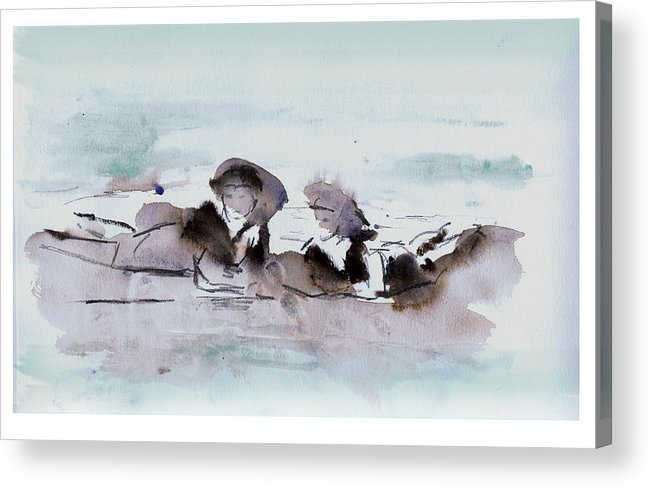 Beach Acrylic Print featuring the painting Girls At The Beach by Lori Childers