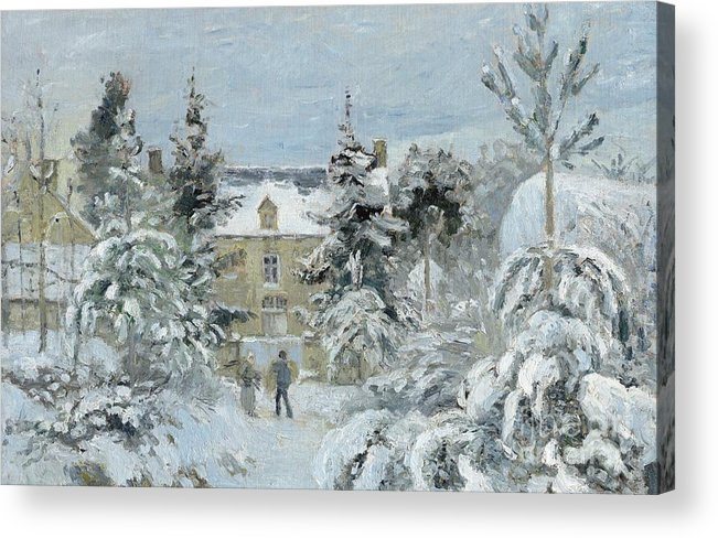 Winter Acrylic Print featuring the painting House At Montfoucault by Camille Pissarro