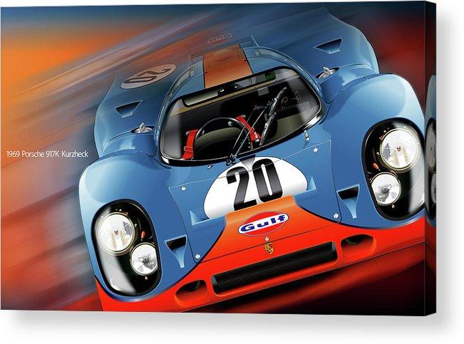 John Wyer's Gulf Porsche 917 Acrylic Print featuring the digital art John Wyer's Gulf Porsche 917 by Alain Jamar