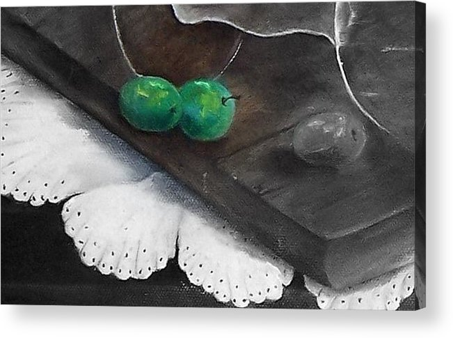 Lace Acrylic Print featuring the painting Just A Hint Of Color by Penny Everhart