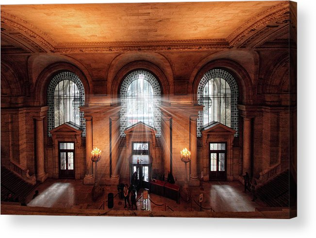 New York Public Library Acrylic Print featuring the photograph Library Entrance by Jessica Jenney