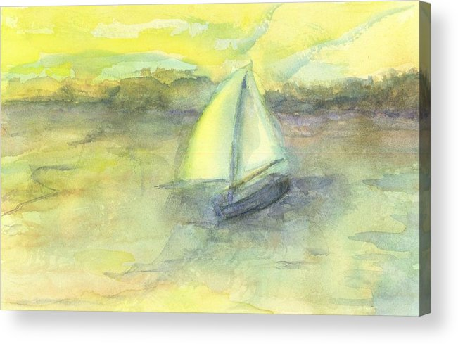 Boat Water Sea Sailboat Hillaryart Acrylic Print featuring the painting Little Boat by Hillary McAllister
